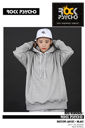 ROCKPSYCHO OVER SIZE HOODIE (GRAY)